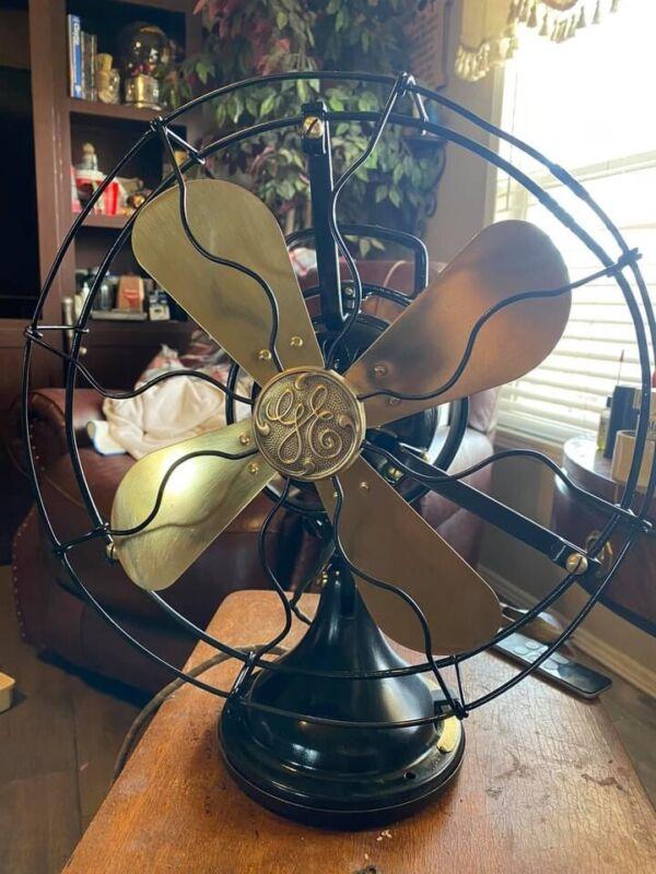 Antique GE Oscillating Fan Brass Blades Cast Iron. Restored Made In 1915