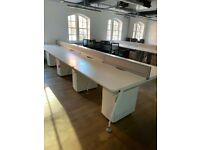 8 position office desk table bench workstation white with cable tray 120cm