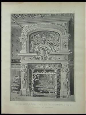 CHEMINEE HOTEL RUE MAGDEBOURG PARIS - 1885 - PLANCHE ARCHITECTURE - ADELGEIST