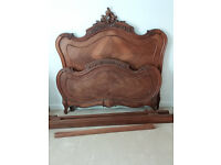 French double bed frame wood Rococo style collection only