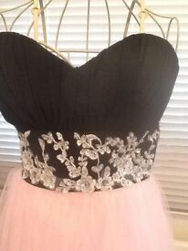 Prom dress, black bodice, jewelled, pink tulle skirt. Size 8