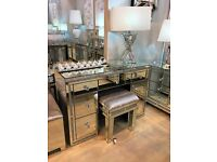 Milano Mirrored 7 Drawer Dressing Table with Crushed Diamond Border & Mirror