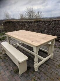 6ft pine refectory table and benches
