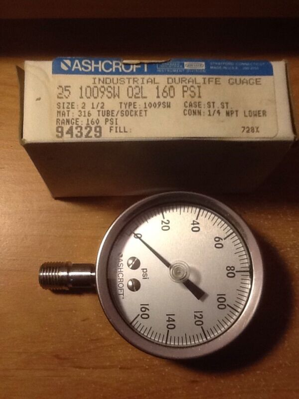 Ashcroft USA MADE 160 psi industrial gauge. Air - Gas / Compressor Regulator