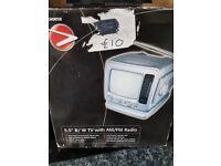5.5 inch portable radio/ television (B/W)