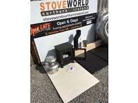 UNBELIEVABLE STOVE DEAL !!!! 5kw multifuel stove oak beam slate hearths flue liner pipe multi fuel