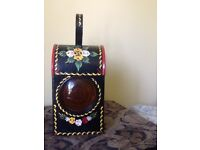 Vintage road/railway workers lantern hand painted in traditional canal boat rose design