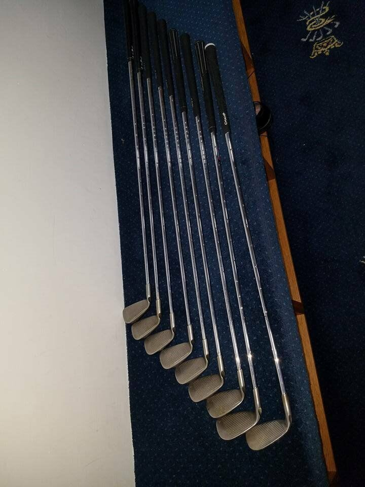 Ping I3 irons ( blue spot.) 3 iron to Sand Iron ( 9 clubs.)