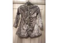 Girls silver diamante bow back crushed velvet style dress. New with tags.