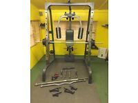 Smith Machine with Cable press - With over 110kg free weights and bar set (Complete starter set)