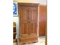 Pine Double Wardrobe with bottom drawer. Very good condition. £150 o.n.o