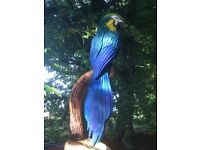 Chainsaw carved Blue Macaw