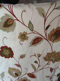 Cream rust & green curtains