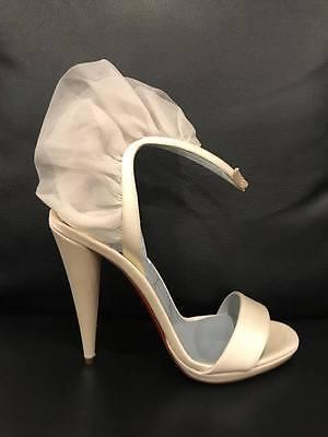 NIB Christian Louboutin Jacqueline De 120 White Satin Ankle Heel Pump 37 $1095