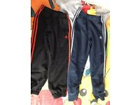 *£6 FOR 2* USED BOYS ADIDAS TRACKSUIT FLEECE BOTTOMS ORANGE+BLACK 9-10 YEARS BLUE AND WHITE 11-12