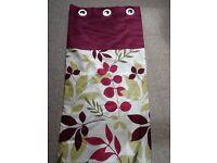 Brand new Dunelm Pair Modern Eyelet Floral Curtains Purples Green Cream Drop 228 cms Width 228 cms