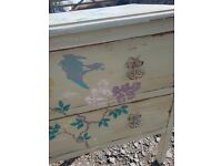 vintage french style chest of drawers...flowers / birds...unique