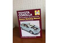 haynes manual for toyota corrola 2002/07