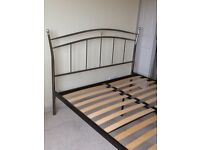 King Size Slatted Bed Frame - Brushed Chrome Effect
