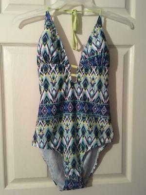 Ladies Bobbie Brooks Swimsuit Geometric Tribal Print Tankini Halter Swim (Halter Print Tankini)