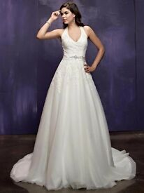 BEAUTIFUL ELLA ROSA IVORY HALTER NECK WEDDING DRESS SIZE 14 BRAND NEW