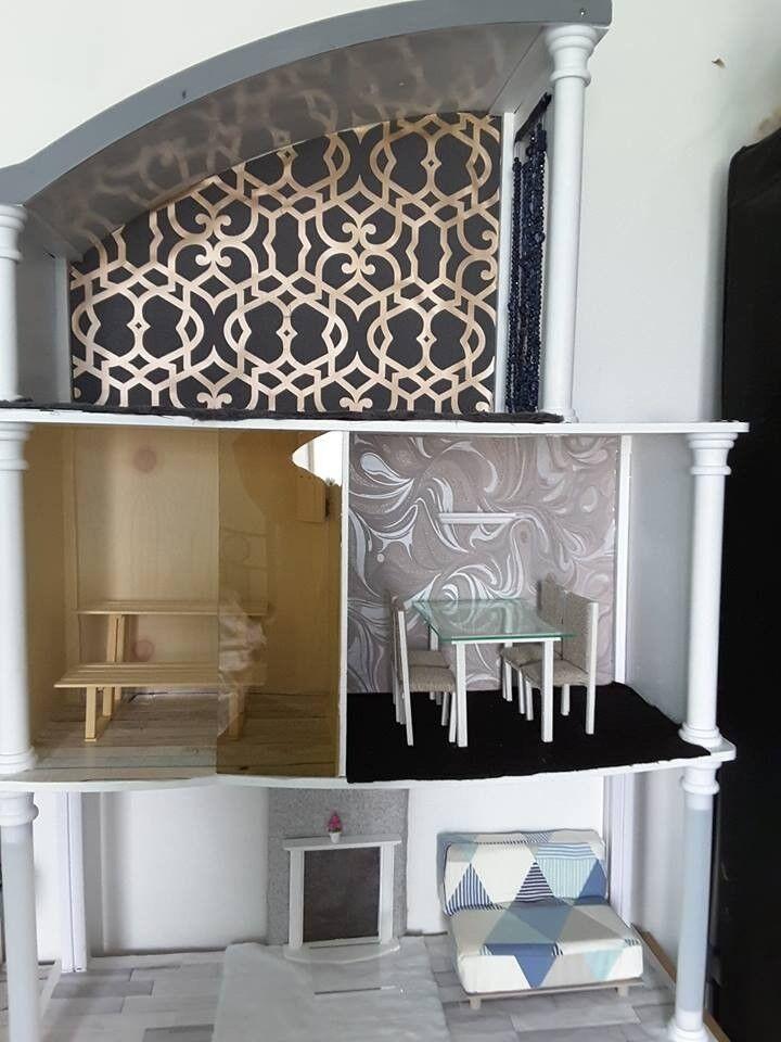 Beautiful Barbie Doll House Handmade Furniture Working Lights Etc In