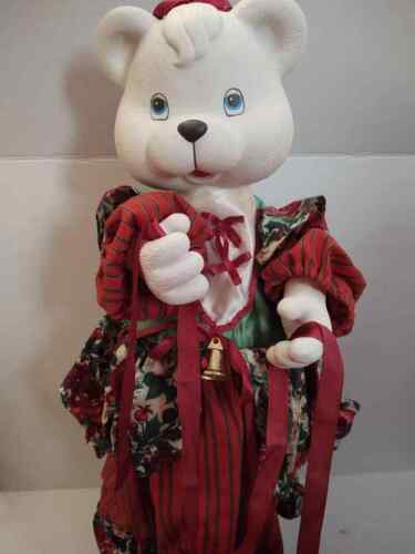 """24"""" Animated Motionette Plastic Bear Face """"The Merry Gifts of Christmas"""" 1993"""