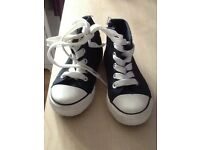 Blue and white boot trainers