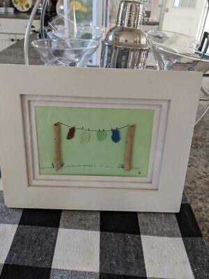 Rare Original beach glass sea glass framed artwork Large 7x9