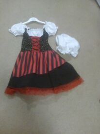 child' s black and red with white short sleeve and hat age 8-10yrs