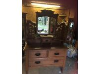 Pine Dressing Table with Mirrors