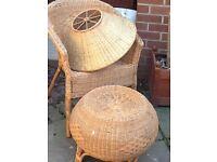 Wicker,chair,footstool,shade