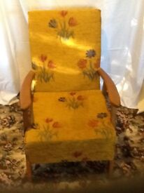 Two chenille covered armchairs