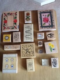 17 Mixed Stamp Blocks for Card/Craft Making