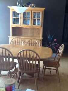 Table chairs buffet and hutch