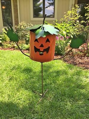 AWESOME 3' + FT TALL HALLOWEEN PUMPKIN LAWN METAL YARD ART - CAN BE LIGHTED/LIT (Awesome Halloween Pumpkin)