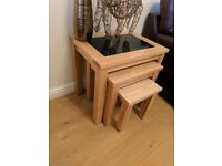 Cluster of 3 Solid oak tables with black inserts