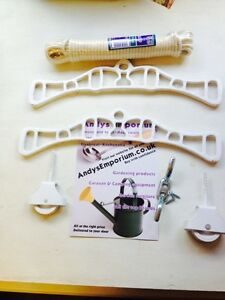 Ceiling Hanging Clothes Airer Kit Cast Iron Ends Rope Kitchen Laundry Dryer