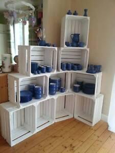 8x weiße dekorative Apfelkisten,Obstkisten,Holzkisten %Preiskracher%