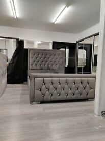 🔥🔥ALL SIZES AVAILABLE🔥🔥 BRAND NEW PLUSH VELVET FABRIC HEAVEN DOUBLE BED FRAME GREY COLOR