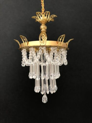 Dollhouse Miniature Handcrafted Cascading Crystal Chandelier 1:12 12V