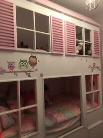 Bespoke made house bunk beds with led lights and storage drawers Ava a wardrobe !