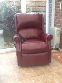 Recliner Leather Chair in Antique Burgundy
