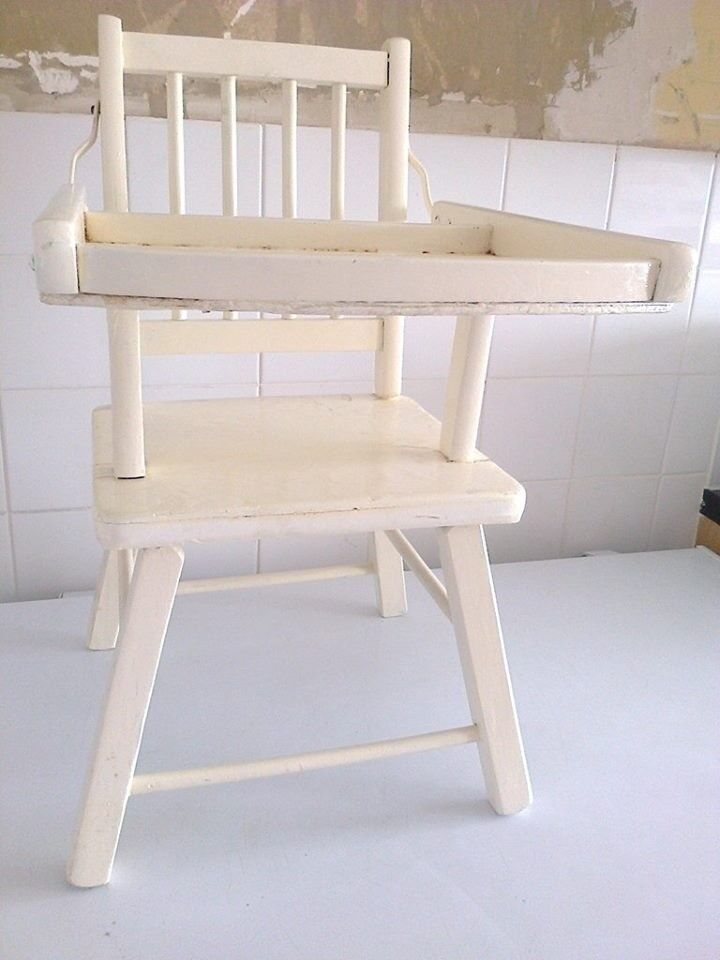Painted White Baby Wooden High Chair Could Repaint Or Sand Down