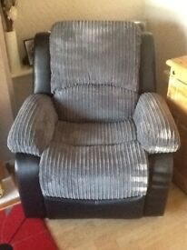 Recliner armchair,Half cord/pu,as new,perfect cond.suite,furniture.