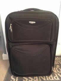 Black Expandable Medium Sized Suitcase Luggage Baggage Travel Bag Case
