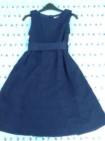Navy chiffon tiered dress with ribbon tie, immaculate, 10-11 yrs