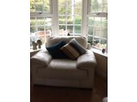 White two seater sofa and chair very good condition.