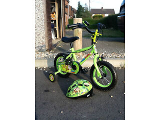 "Apollo Marvin the Monkey boys bike 12"" with helmet, water bottle and bell... Hardly used."
