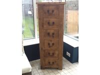 Rustic 6 drawer hand crafted tall chest for sale